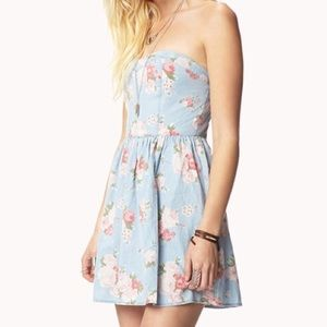 F21 Chambray Floral Dress